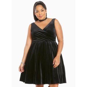 Torrid Black Velvet Surplice Tulled Dress